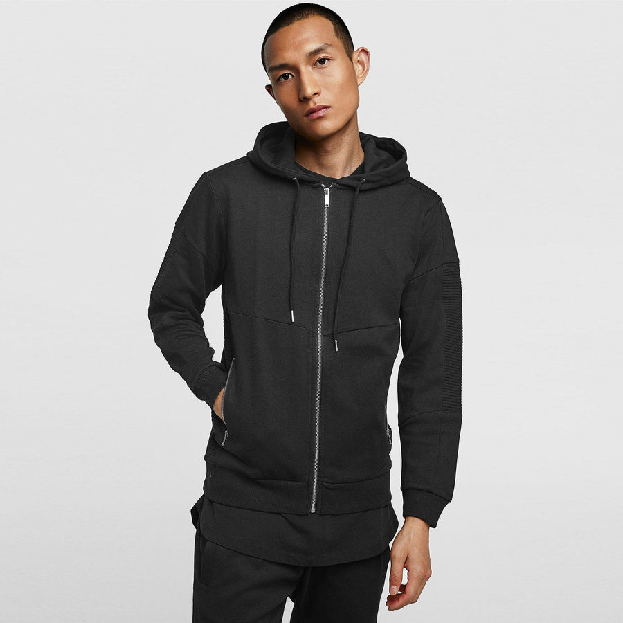 ZR-black biker zip up hoodie
