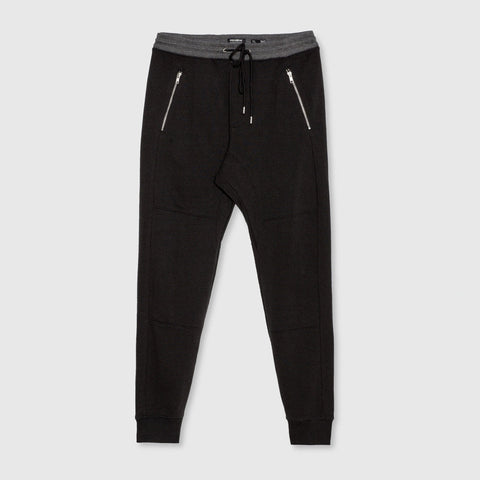 PULL&BEAR-black 'slim fit' pique jogger trouser with zips and contrast rib