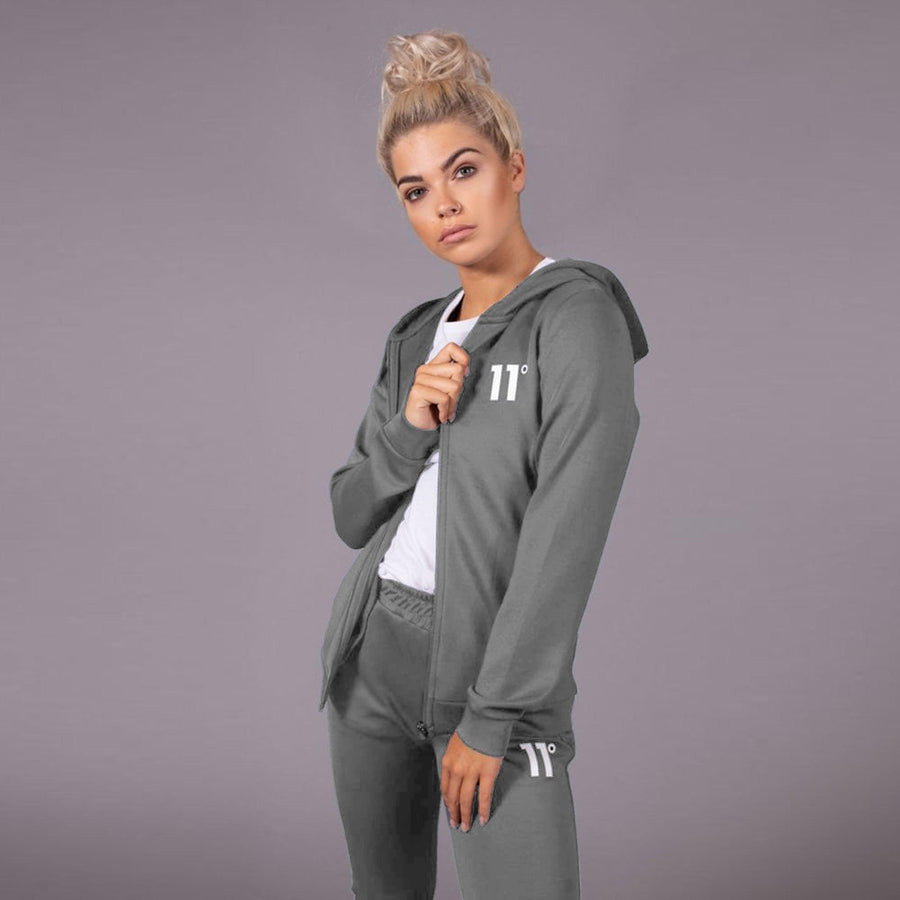 11 DEGREES-exclusive women grey core zip poly zipper