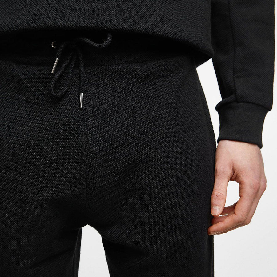 ZARA-exclusive black 'slim fit' pique jogging trouser