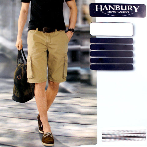 HANBURY-camel 6 pocket cotton cargo short
