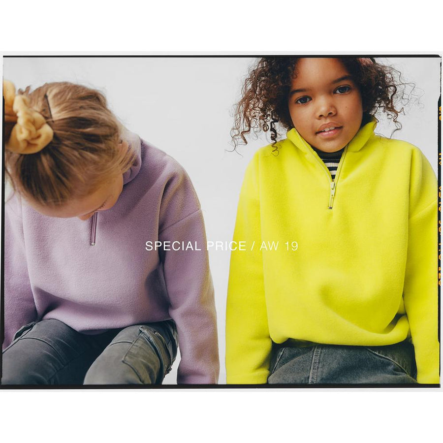 Zr girls lime half zip fleece sweatshirt (1490)