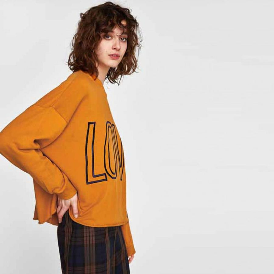 ZARA-women mustard oversize embroidered sweatshirt