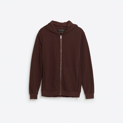 ZARA-burgundy slim fit hooded sweatshirt