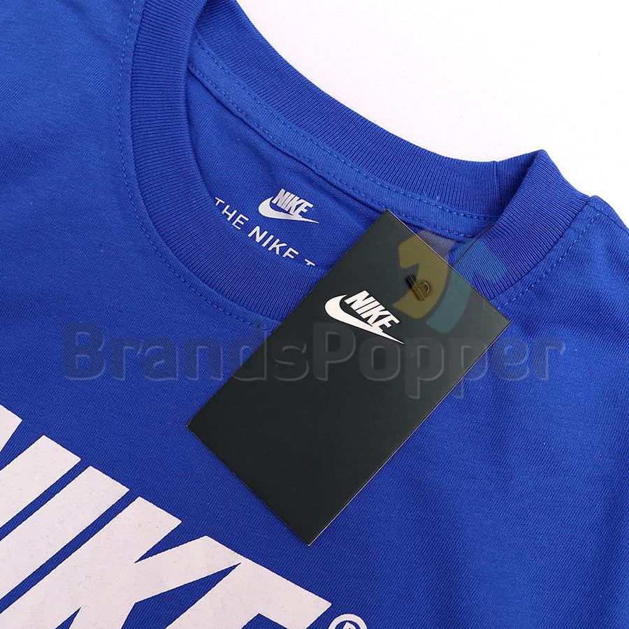 NIKE-blue grey sportswear signature t-shirt (863)
