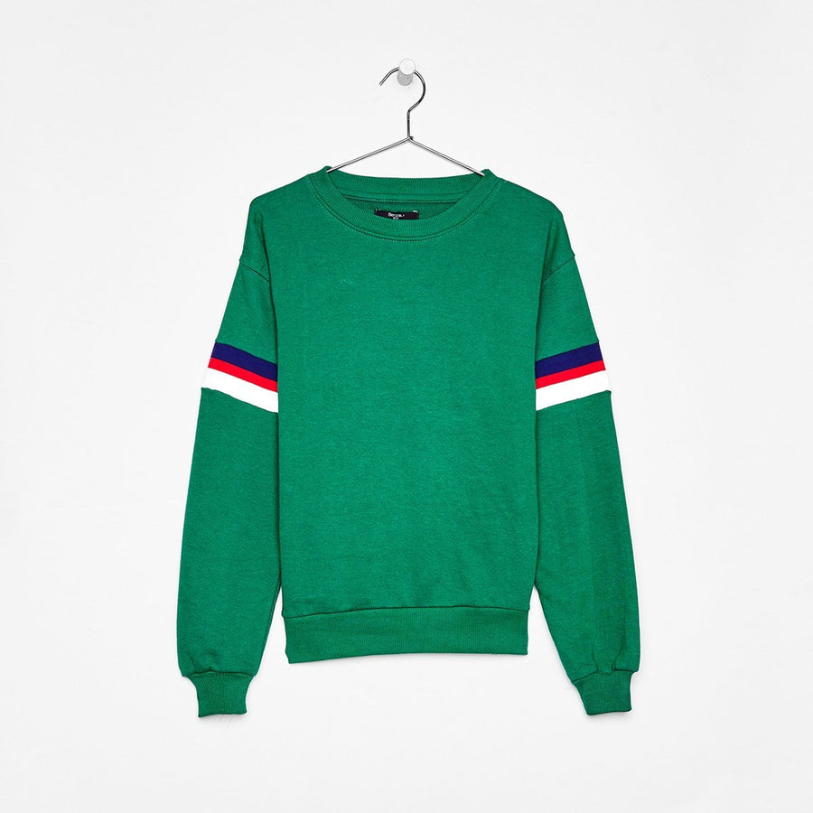 BERSHKA-women green printed sweatshirt (458)