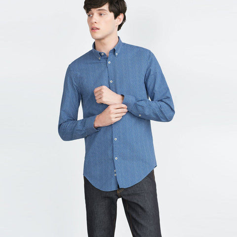 ZARA-exclusive 'slim fit' royal blue printed oxford shirt