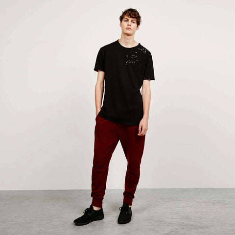 BERSHKA-burgundy 'slim fit' plush trouser with side zip