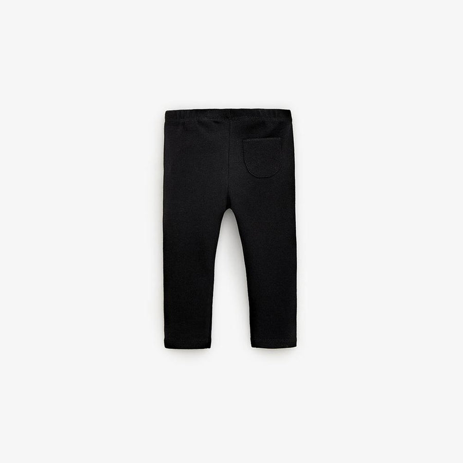 Zr kids black basic ribbed leggings (1416)