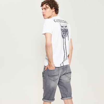 RESERVED-grey ripped denim short with patches