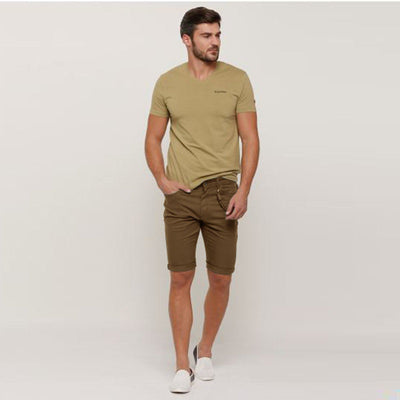 SPLASH-brown pocket detail cotton shorts with button closure
