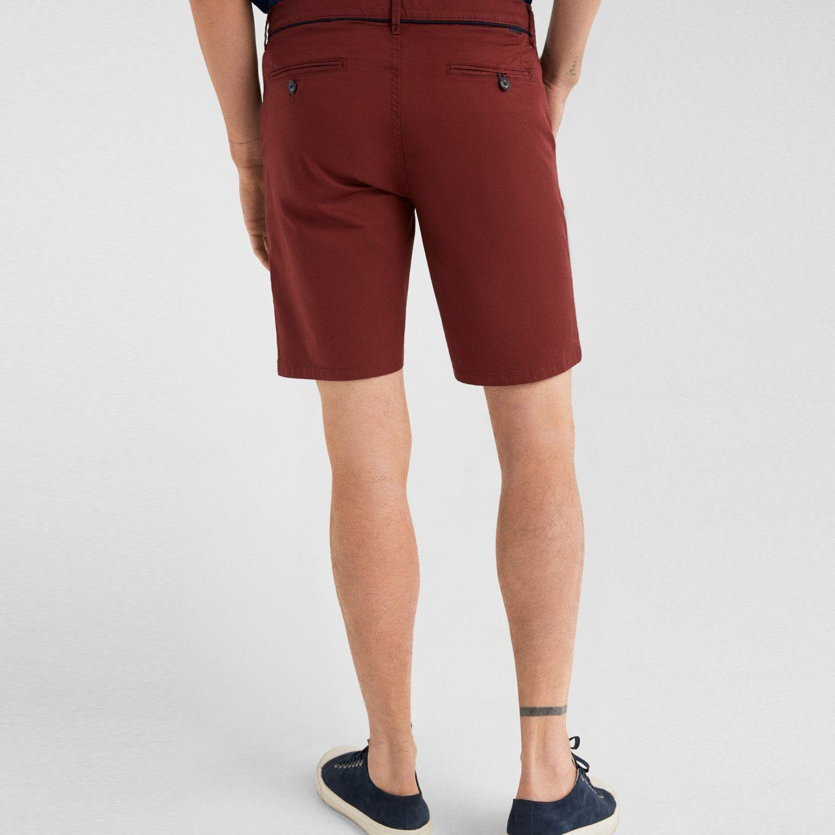 SF-maroon live in waistband stretch bermuda short (956)