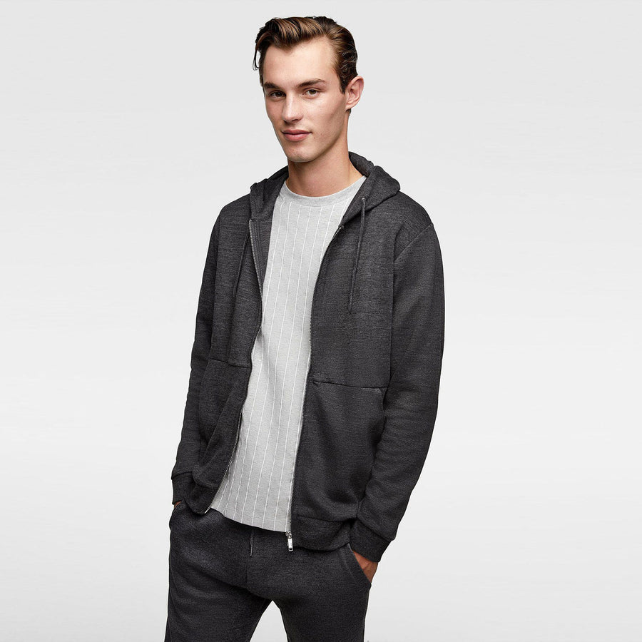 ZARA-anthracite grey zip-up hoodie