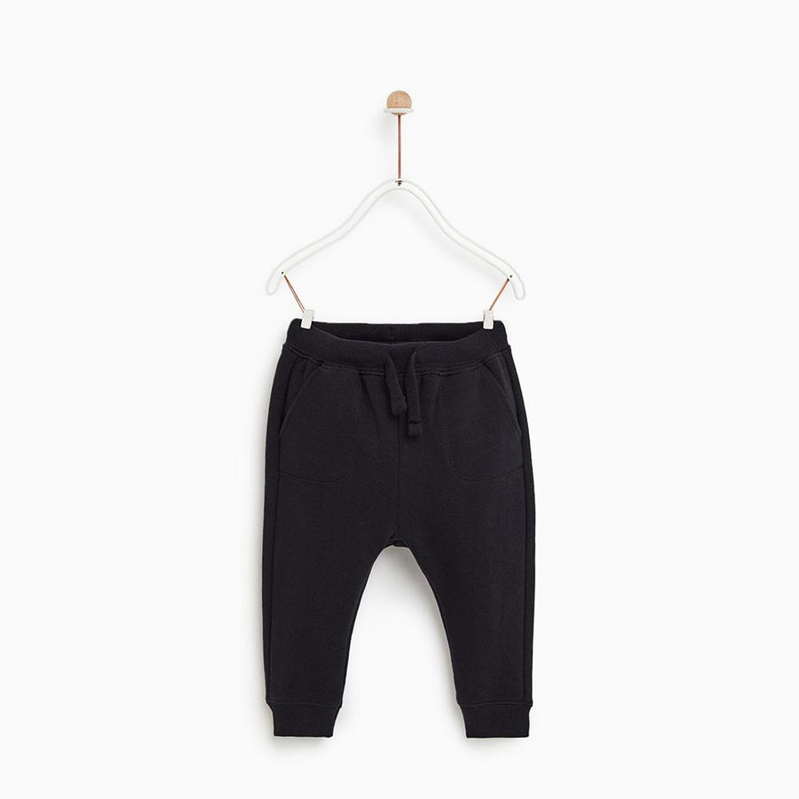 Zr kids black 'slim fit' plush jogger trouser (1468)