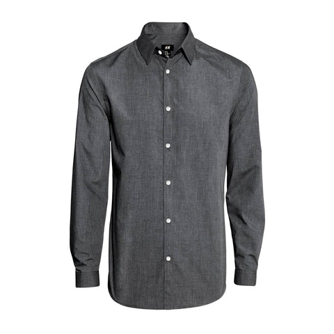 H&M-charcoal 'slim fit' easy-iron shirt
