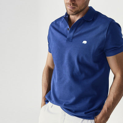 BANANA REPUBLIC-signature pique tibetan blue polo