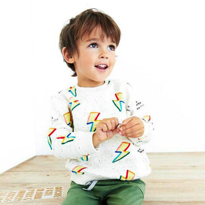 ZARA-kids white lightning bolt sweatshirt (603)