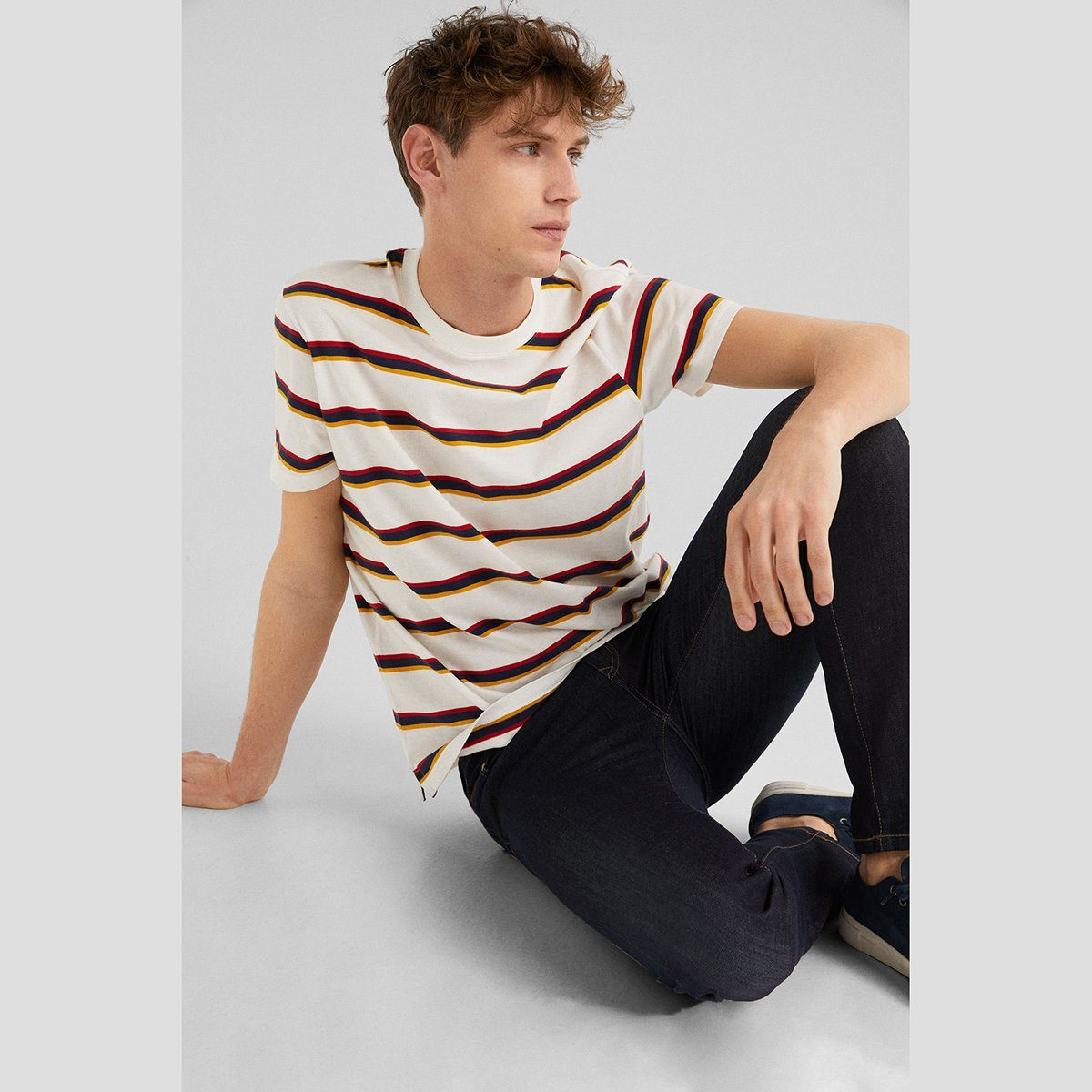 SF-regular short sleeve t-shirt with woven stripe