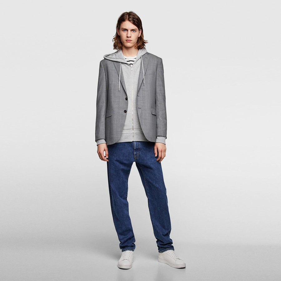 ZR-grey marl pique hooded sweatshirt