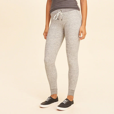 BERSHKA-women oatmeal melange 'slim fit' jogger trouser
