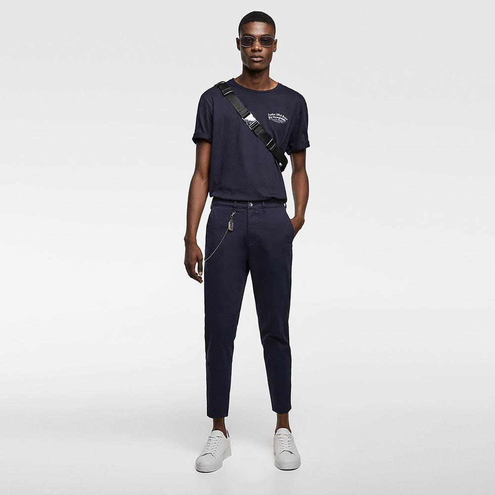 ZR-navy 'carrot fit' chino with chin details