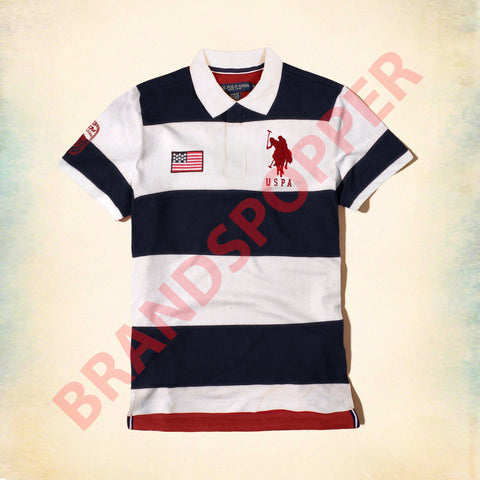 U.S. POLO ASSN-navy and off white liner pique polo