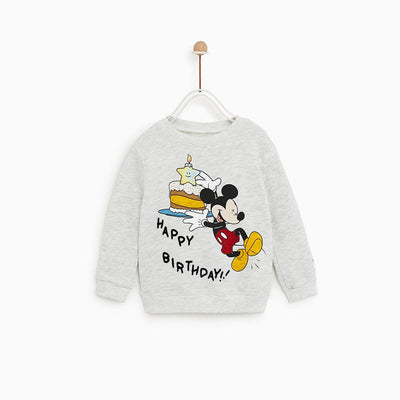 ZR-kids gray marl happy birthday printed sweatshirt (617)