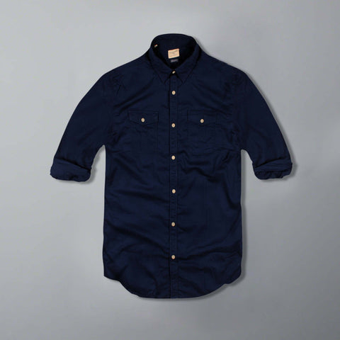SELECTED-exclusive dark navy double pocket shirt