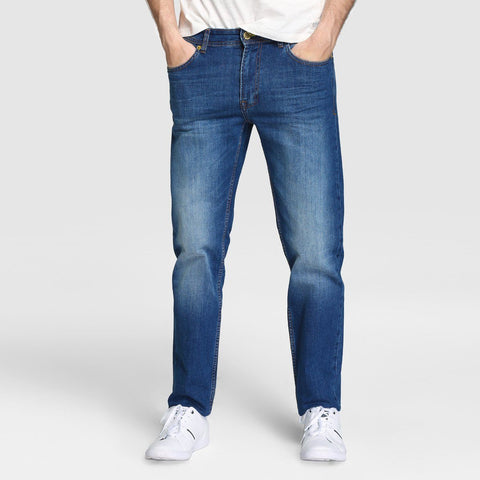 EASY WEAR-mid blue 'regular slim' stretch jeans (12 oz fabric)