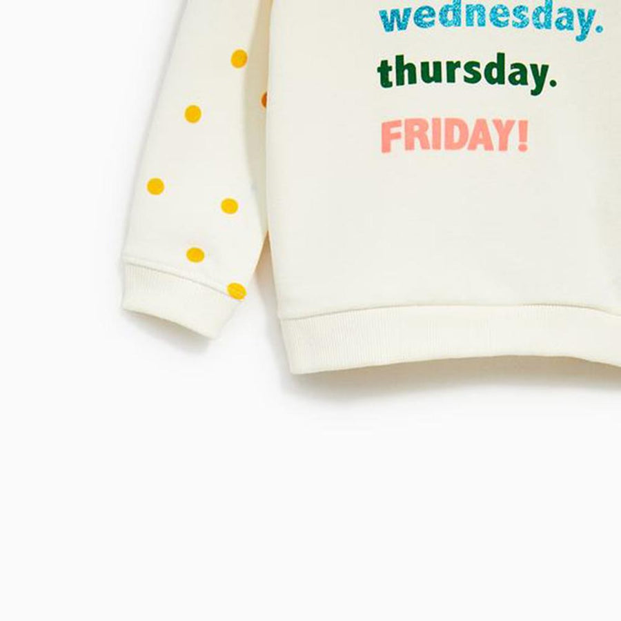 ZARA-kids days of the week sweatshirt (620)