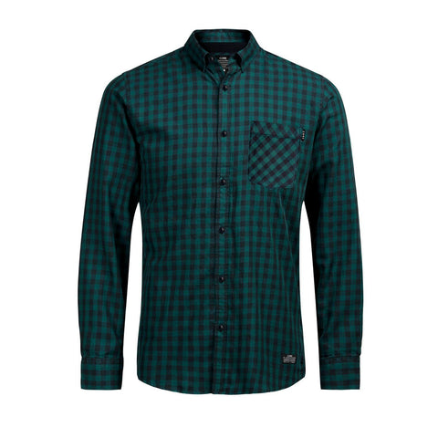 JACK & JONES-exclusive slim fit soft green gingham check shirt