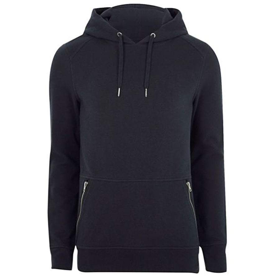 RIVER ISLAND-blue muscle fit side zip pocket hoodie