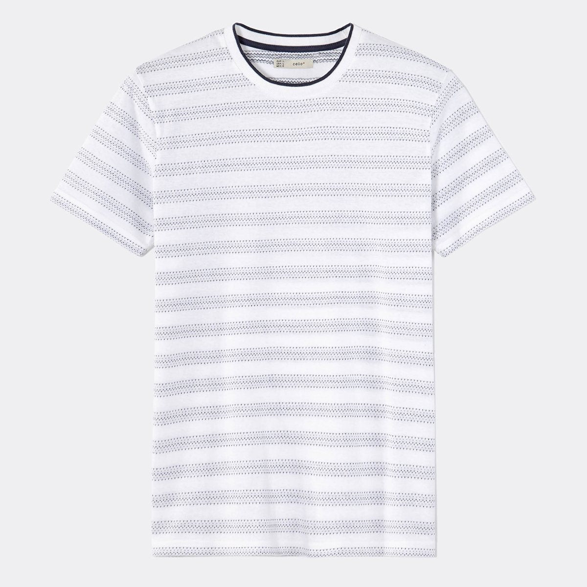 White straight contrast collar t-shirt