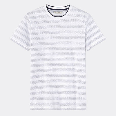CELIO-white straight contrast collar t-shirt