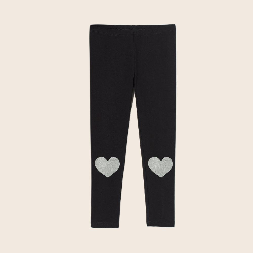 Girls Black Imported Heart Printed Cotton Jersey Legging (21080)