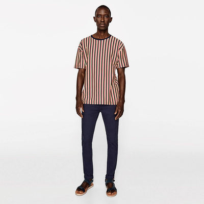 ZARA-exclusive navy 'skinny fit' stretch cotton chino