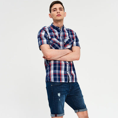 CROPP-navy stretch denim ripped short with roll-up leg
