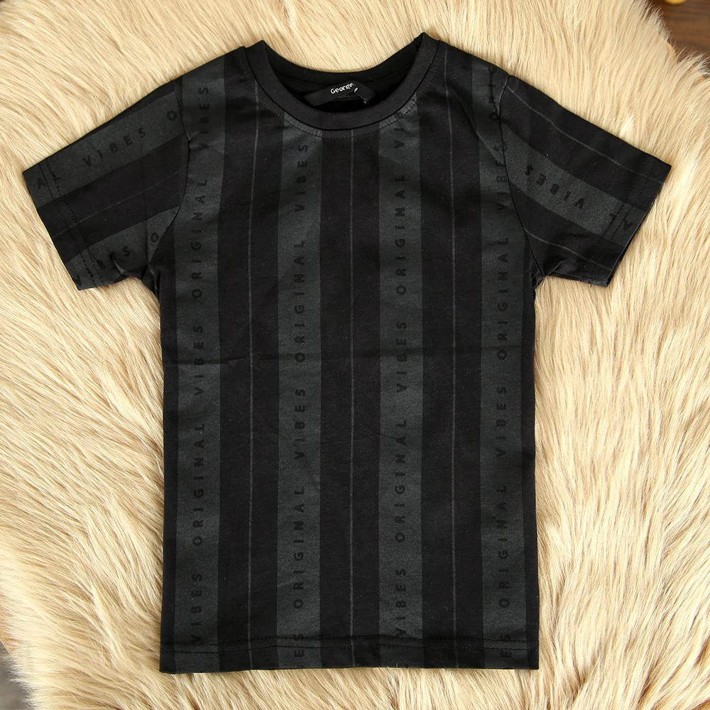 Vertical Striped Printed Cotton T-Shirt For Boys (21177)