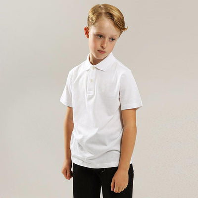 Boys white short sleeve polo (798)