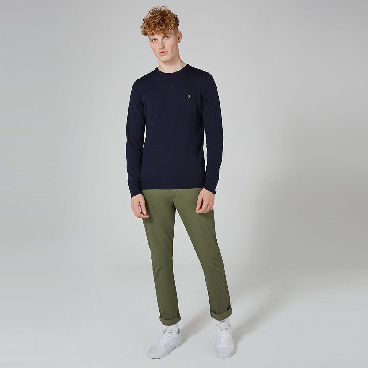 Olive 'regular slim' stretch cotton chino