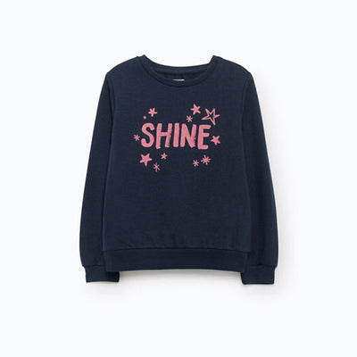 LEFTIES-girls navy plush printed sweatshirt.
