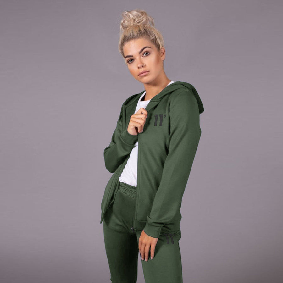 11 DEGREES-exclusive women olive core zip poly zipper