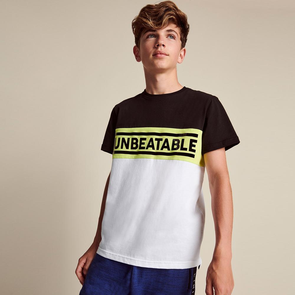 High Quality White Paneled Slogan T-Shirt For Boys (21153)