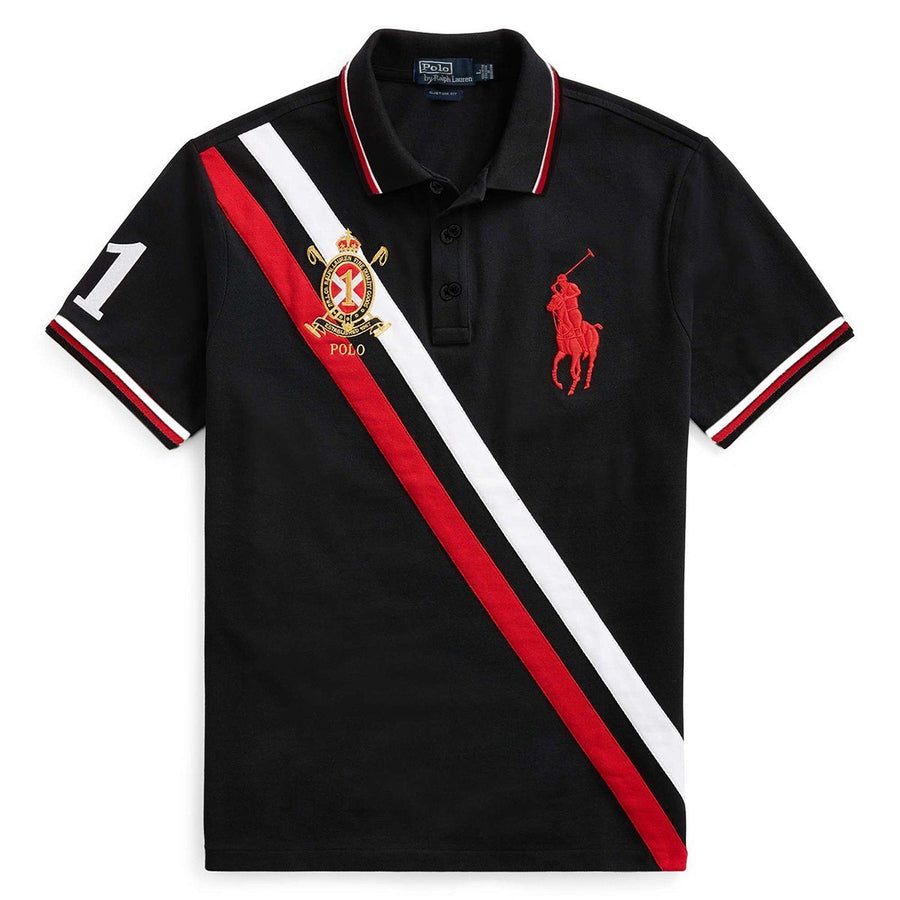 RALPH LAUREN-exclusive black prlco 'slim fit' embroidered polo