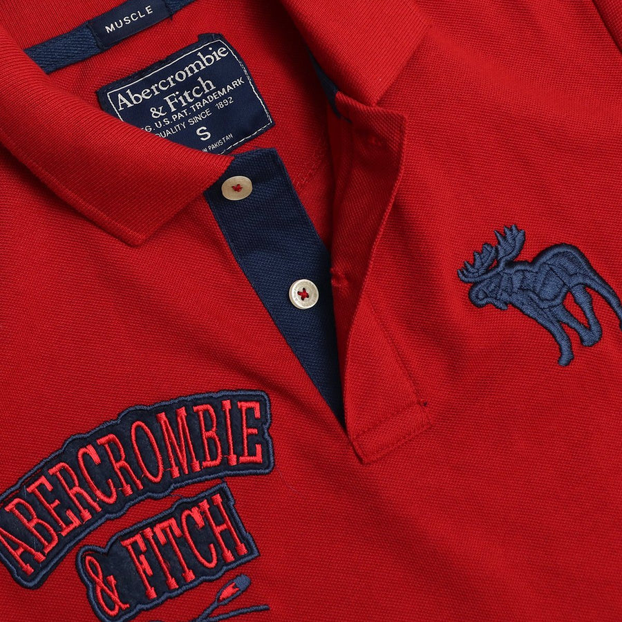A&F double embroidered signature pique red polo (1045)