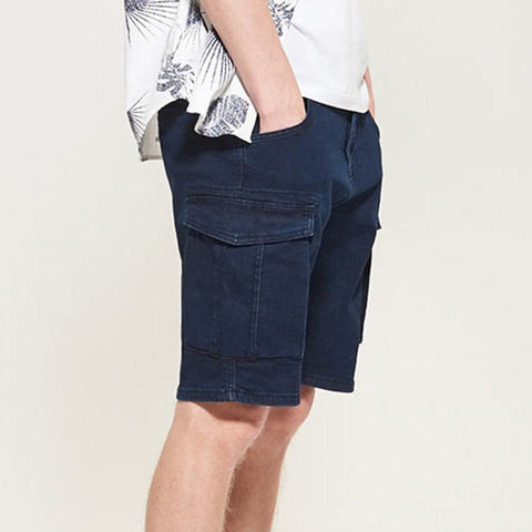 RESERVED-raw navy 6 pocket stretch denim short (12 oz fabric)