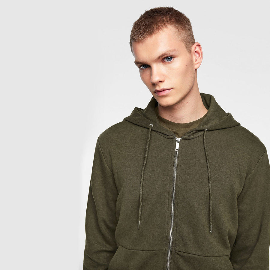 ZARA-khaki interlock zip-up hoodie