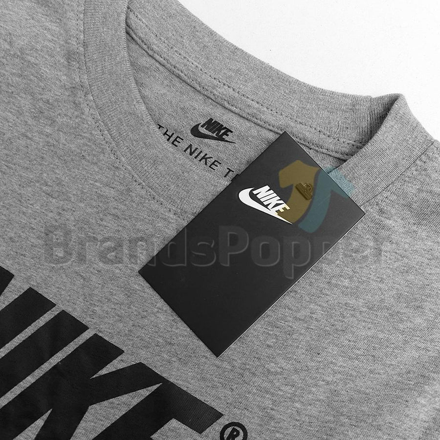 NIKE-heather grey sportswear signature t-shirt (865)