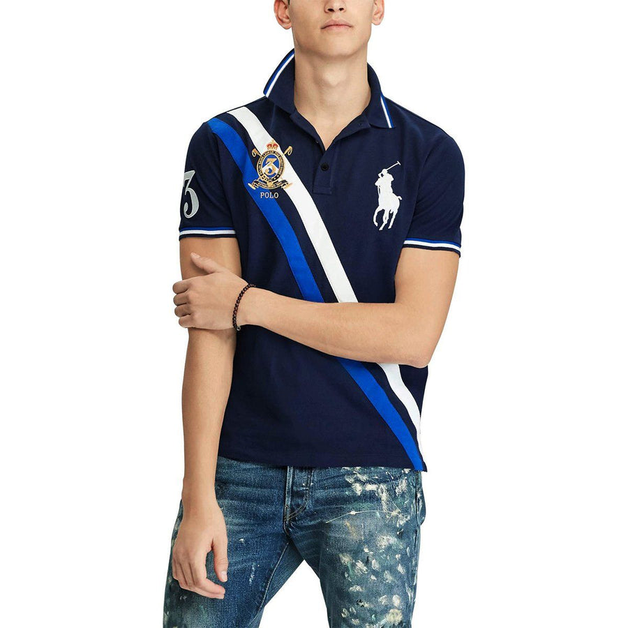 RALPH LAUREN-exclusive navy prlco 'slim fit' embroidered polo
