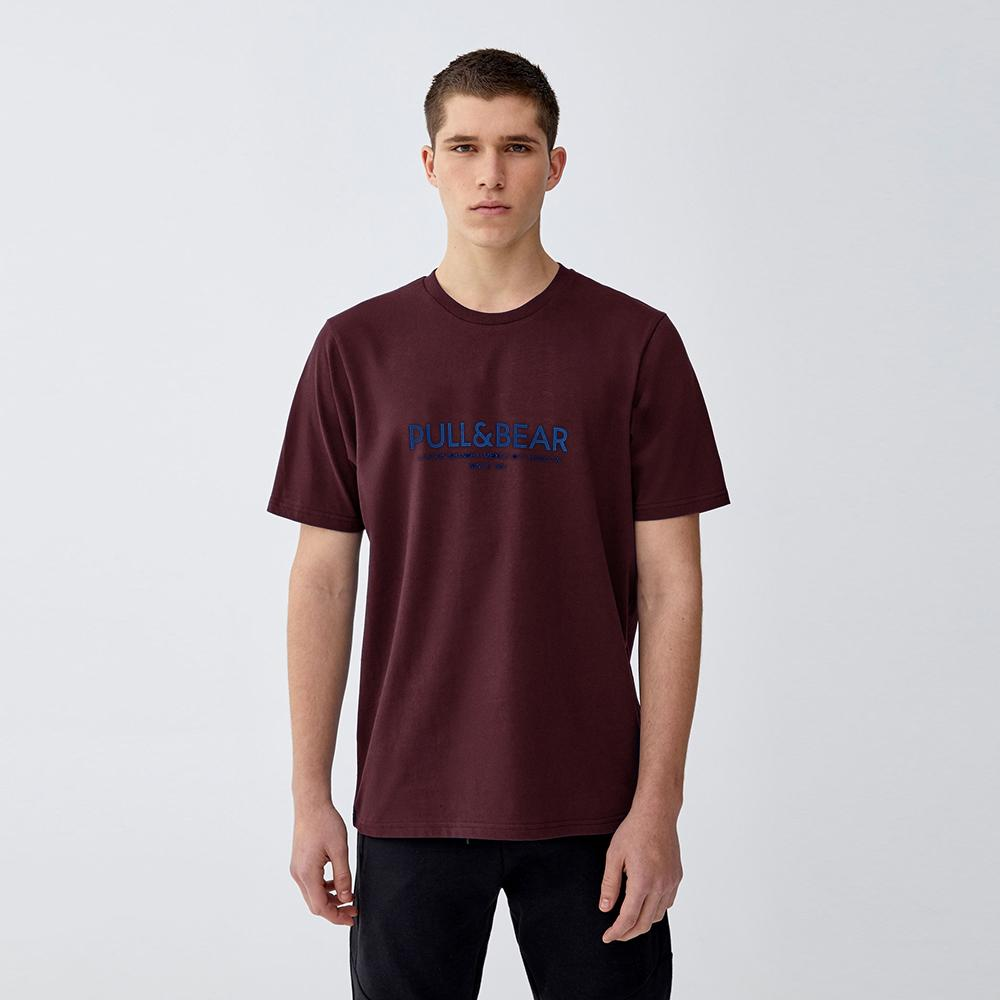 P&B burgundy 'regular fit' logo printed t-shirt (1648)